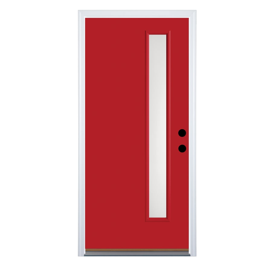 Therma-Tru Satin Etch Privacy Glass Left-Hand Inswing Ruby Red Fiberglass Painted Entry Door (Common: 36-in x 80-in; Actual: 37.625-in x 82-in)