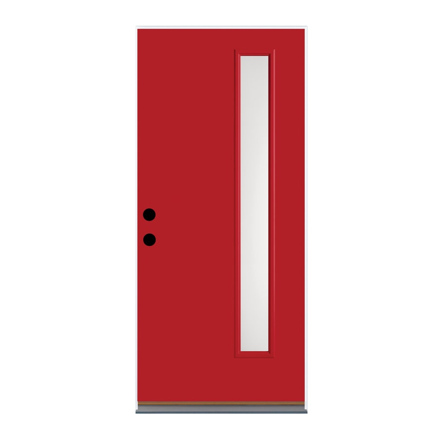 Therma-Tru Satin Etch Privacy Glass Left-Hand Outswing Ruby Red Fiberglass Painted Entry Door (Common: 36-in x 80-in; Actual: 37.625-in x 81.1875-in)