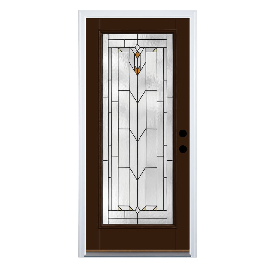 Therma-Tru Arborwatch Decorative Glass Right-Hand Outswing Chestnut Fiberglass Painted Entry Door (Common: 36-in x 80-in; Actual: 37.625-in x 81.1875-in)
