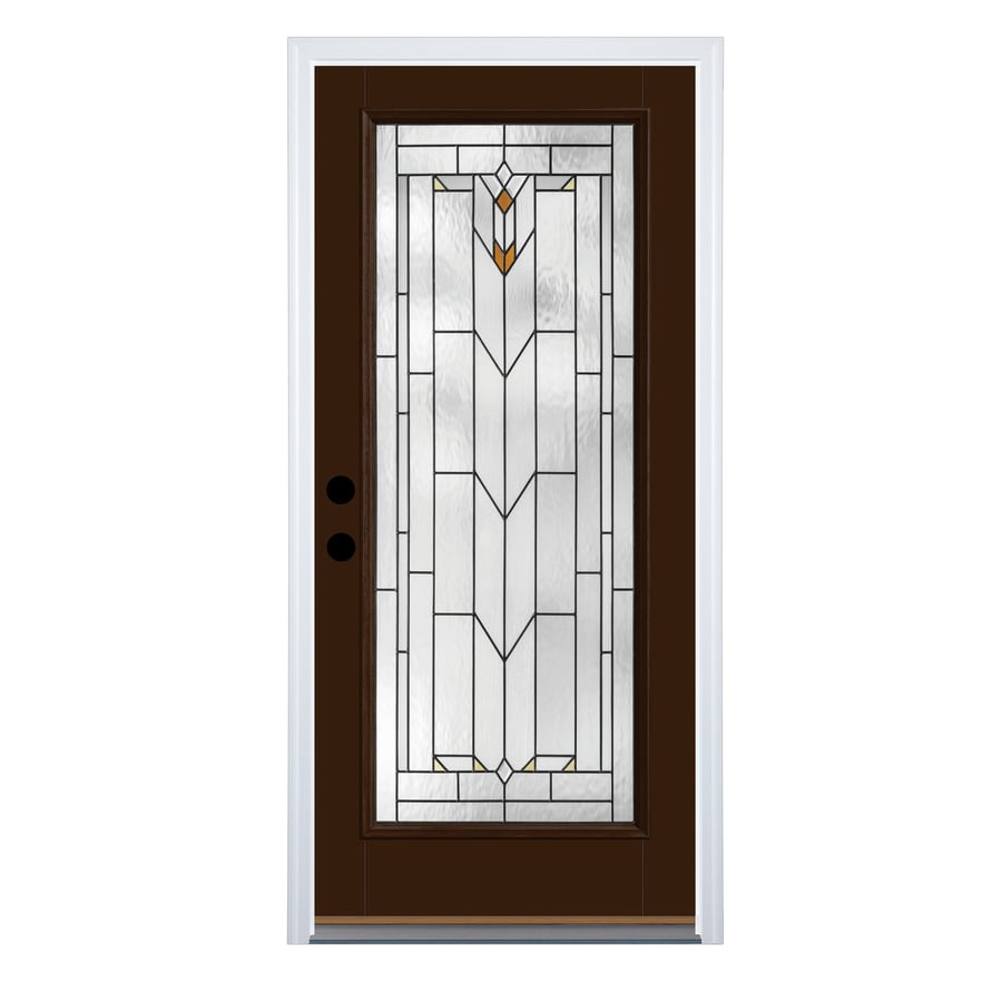 Shop therma tru arborwatch decorative glass left hand outswing chestnut fiberglass painted entry 36 x 80 outswing exterior door