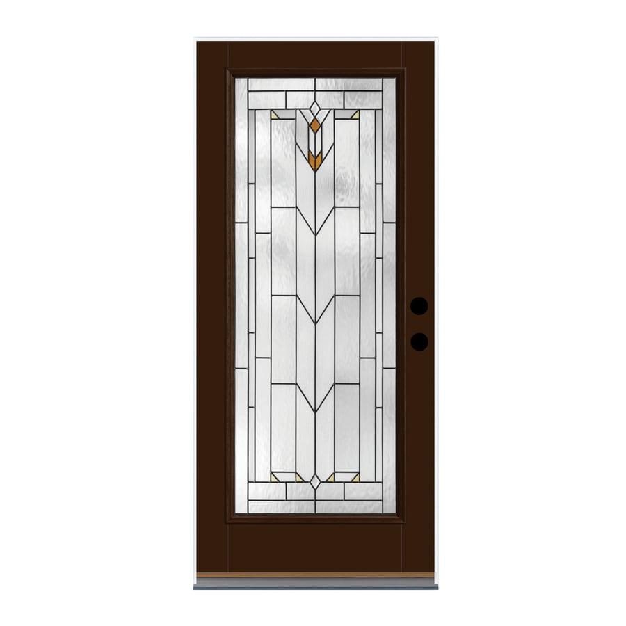 Therma-Tru Arborwatch Decorative Glass Left-Hand Inswing Chestnut Fiberglass Painted Entry Door (Common: 36-in x 80-in; Actual: 37.625-in x 82-in)