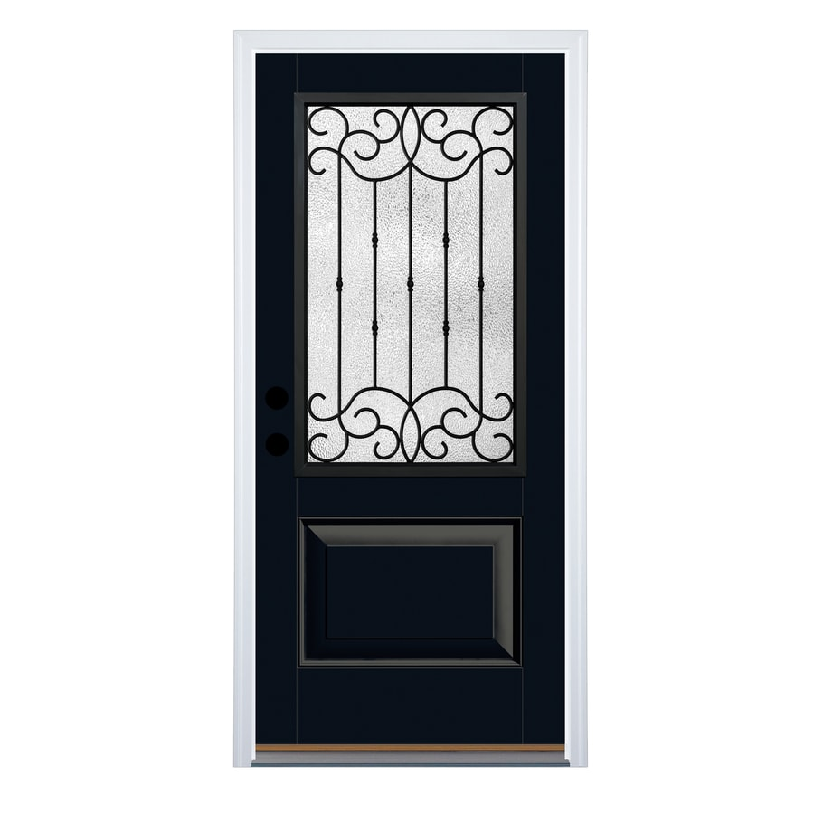 Therma-Tru Borrassa Decorative Glass Right-Hand Inswing Onyx Fiberglass Painted Entry Door (Common: 36-in x 80-in; Actual: 37.625-in x 82-in)
