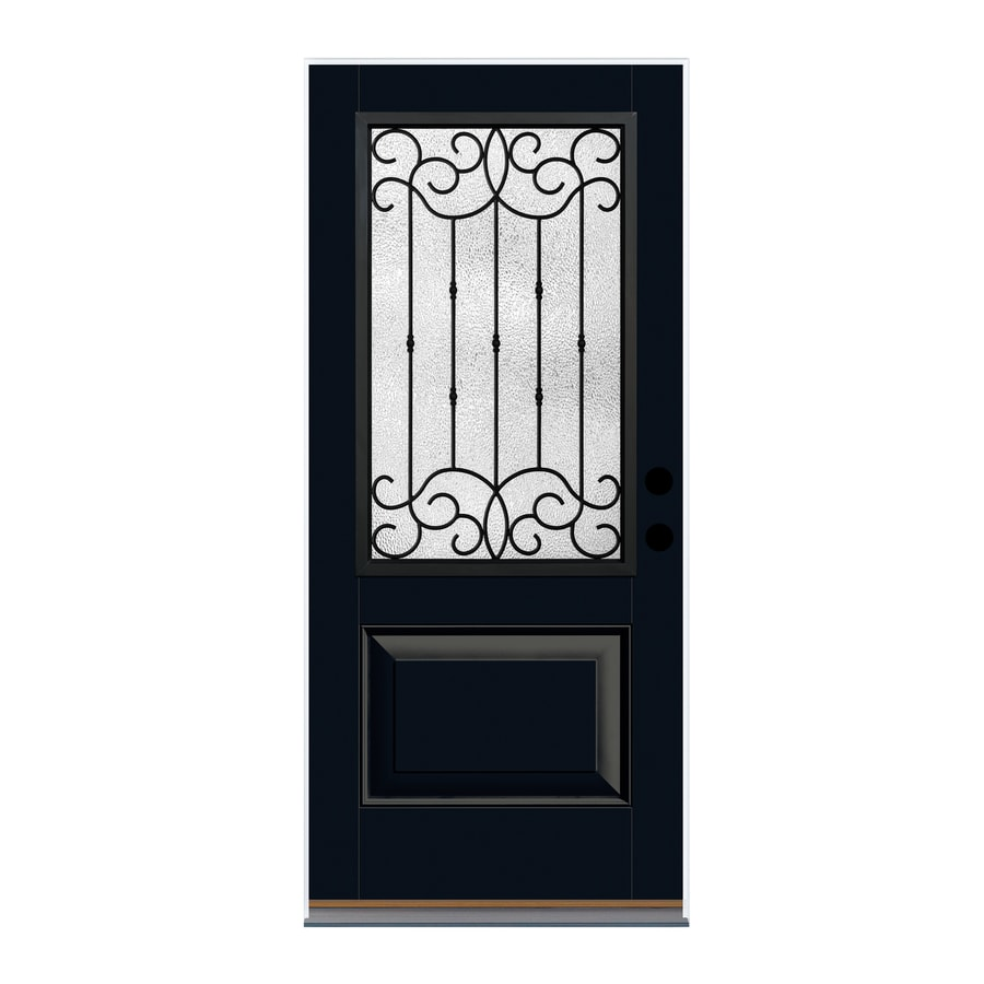 Shop therma tru borrassa decorative glass right hand 36 x 80 outswing exterior door
