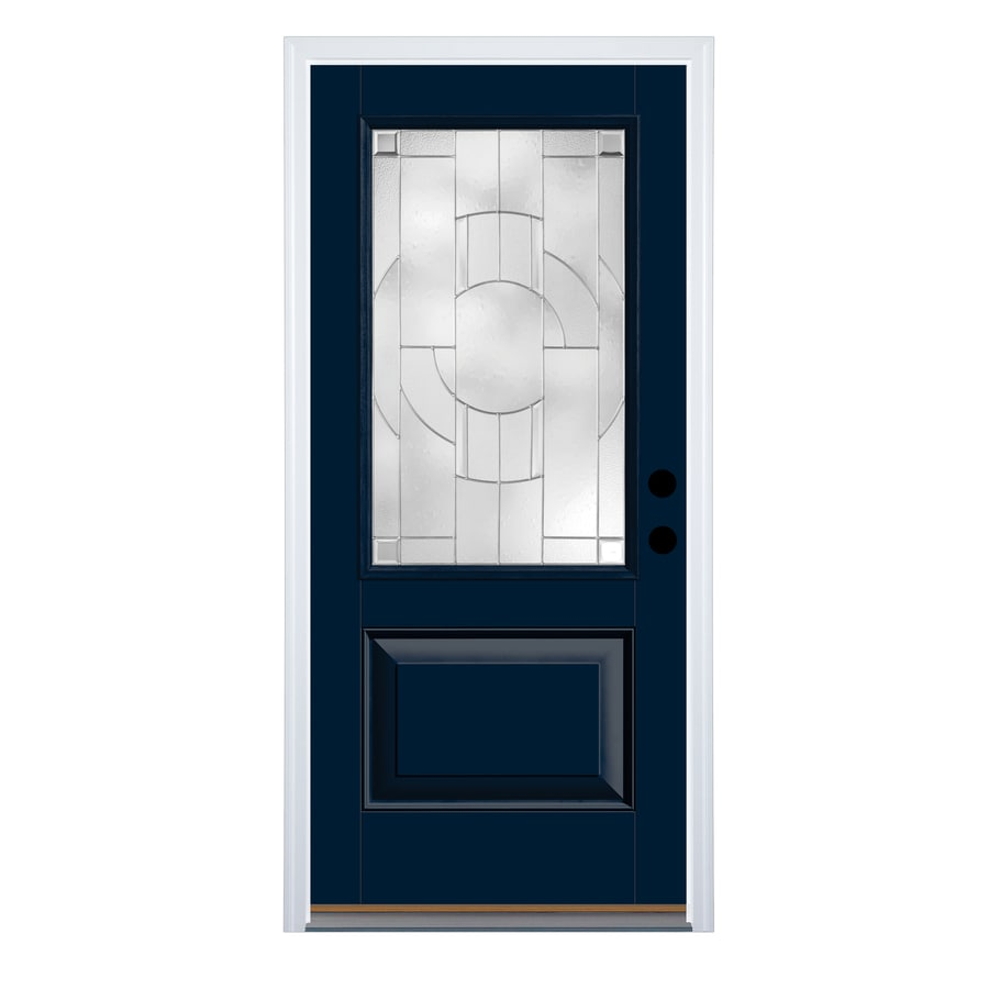 Exceptionnel Therma Tru Zaha Decorative Glass Right Hand Outswing Indigo Fiberglass  Painted Entry Door (