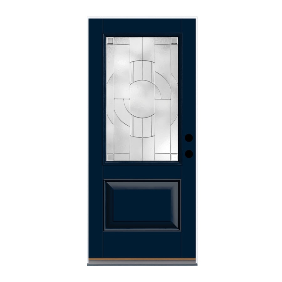 Therma-Tru Zaha Decorative Glass Right-Hand Outswing Indigo Fiberglass Painted Entry Door (Common: 36-in x 80-in; Actual: 37.625-in x 81.1875-in)
