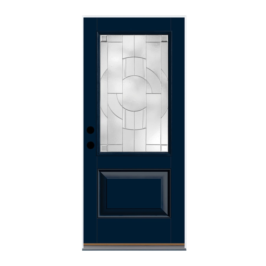 Therma-Tru Zaha Decorative Glass Left-Hand Outswing Indigo Fiberglass Painted Entry Door (Common: 36-in x 80-in; Actual: 37.625-in x 81.1875-in)