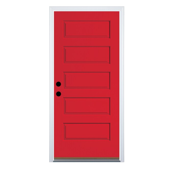Therma Tru 36 In X 80 In Fiberglass Right Hand Inswing Ruby Red Painted Prehung Single Front Door Brickmould Included In The Front Doors Department At Lowes Com Experience the warmth of wood with this 36 in. therma tru 36 in x 80 in fiberglass