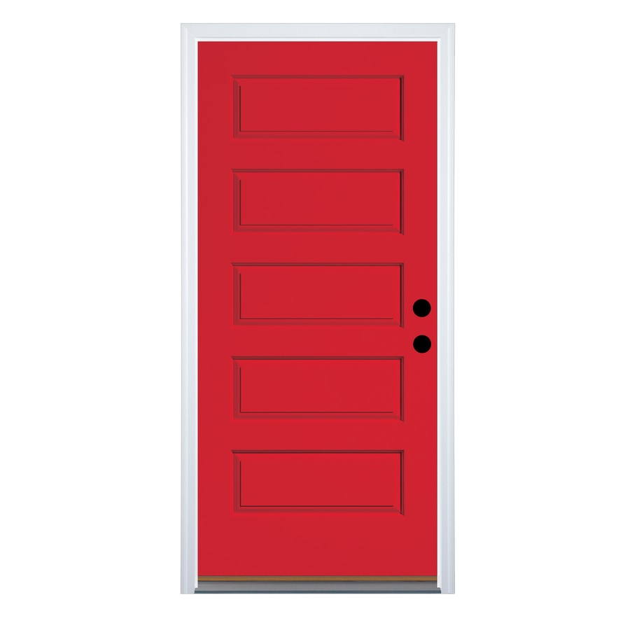 Therma-Tru Left-Hand Inswing Ruby Red Fiberglass Painted Entry Door (Common: 36-in x 80-in; Actual: 37.625-in x 82-in)