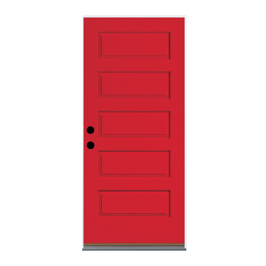 Therma-Tru Right-Hand Inswing Ruby Red Fiberglass Painted Entry Door (Common: 36-in x 80-in; Actual: 37.625-in x 82-in)