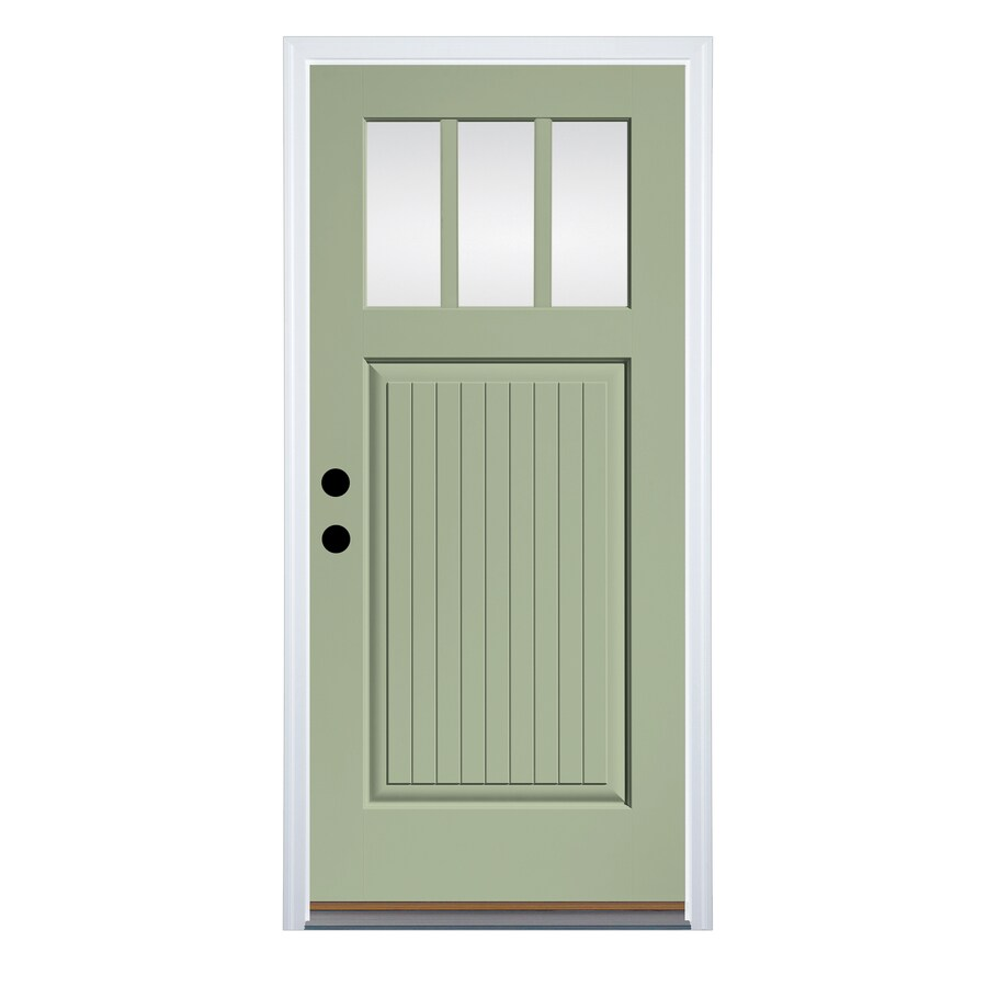 Therma-Tru Clear Glass Right-Hand Inswing Cypress Fiberglass Painted Entry Door (Common: 36-in x 80-in; Actual: 37.625-in x 82-in)