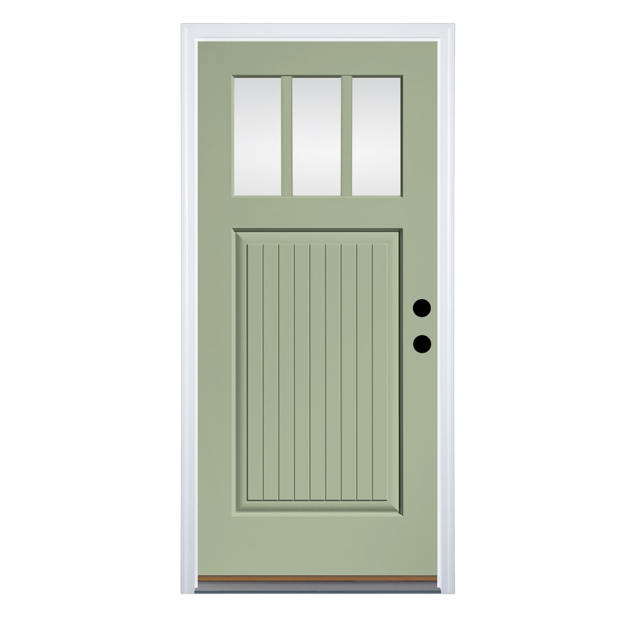 Therma-Tru Clear Glass Left-Hand Inswing Cypress Fiberglass Painted Entry Door (Common: 36-in x 80-in; Actual: 37.625-in x 82-in)