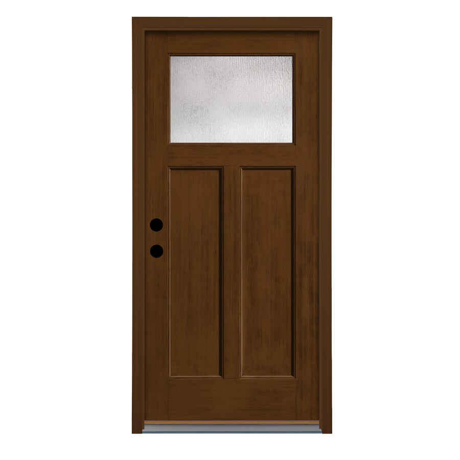 Therma-Tru Rainglass Privacy Glass Right-Hand Inswing New Earth Fiberglass Stained Entry Door (Common: 36-in x 80-in; Actual: 37.625-in x 82-in)