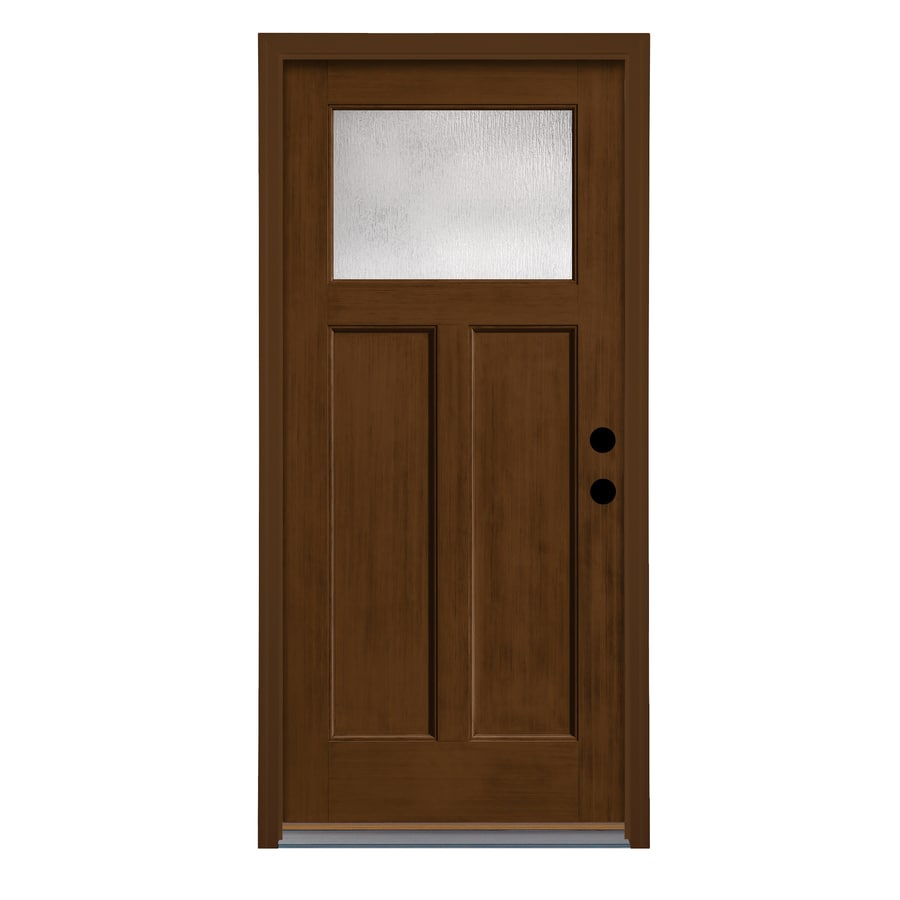 Therma-Tru Rainglass Privacy Glass Left-Hand Inswing New Earth Fiberglass Stained Entry Door (Common: 36-in x 80-in; Actual: 37.625-in x 82-in)