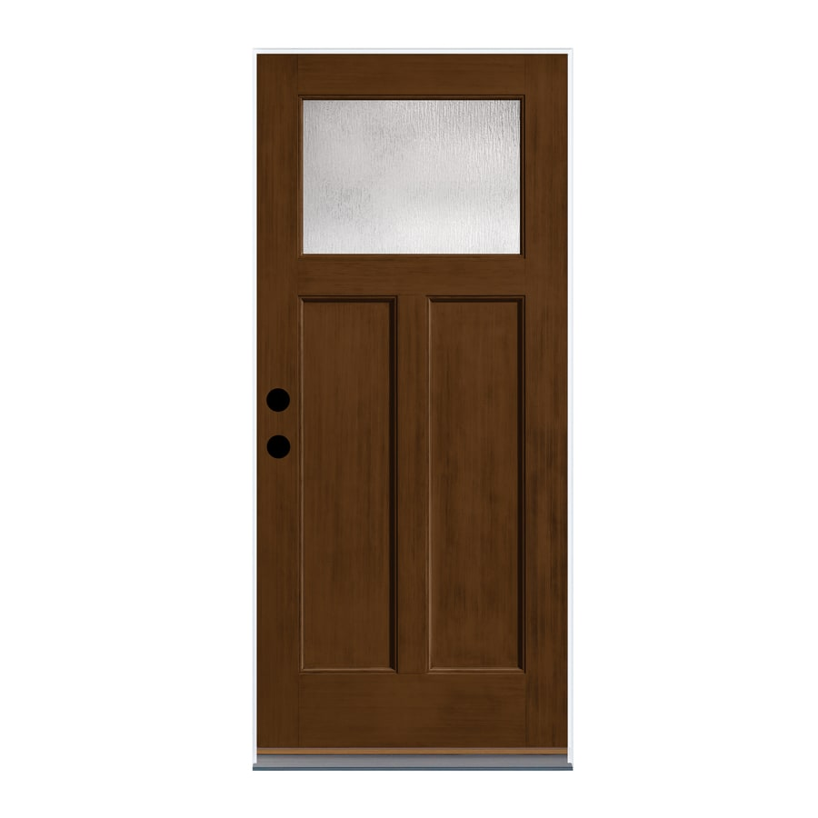 Therma Tru Rainglass Privacy Glass Left Hand Outswing New Earth Fiberglass  Stained Entry Door