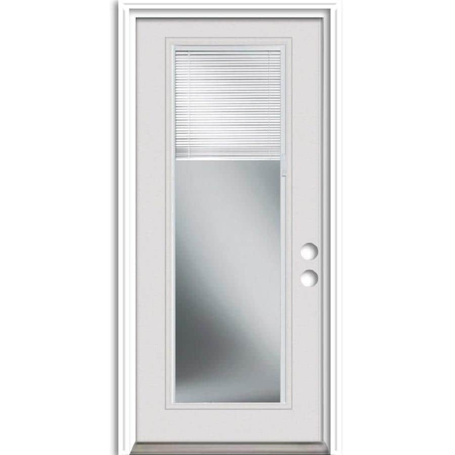 Therma Tru Benchmark Doors 36 In X 80 In Steel Full Lite Left Hand Inswing Ready To Paint Unfinished Prehung Single Front Door Brickmould Included With Blinds In The Front Doors Department At Lowes Com Knotty alder 10 lite with lowe ig door. lowe s