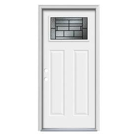 Therma Tru Benchmark Doors Pembrook Craftsman Decorative Gl Right Hand Inswing Ready To Paint