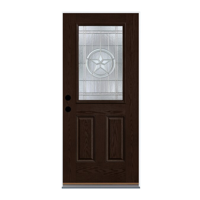 Therma Tru Benchmark Doors Star 36 In X 80 In Fiberglass Half Lite Right Hand Inswing Dark Elm Stained Prehung Single Front Door In The Front Doors Department At Lowes Com Door installation costs and door replacement costs may vary according to the type of doors you select and what market you're in. therma tru benchmark doors star 36 in x 80 in fiberglass half lite right hand inswing dark elm stained prehung single front door
