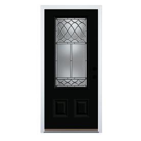 therma tru benchmark doors sheldon 34 lite decorative glass black painted steel prehung - Black Glass