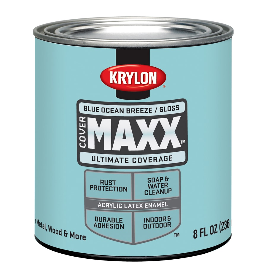 Krylon CoverMaxx Blue Ocean Breeze Gloss Latex Enamel Interior/Exterior Paint and Primer in One (Actual Net Contents: 8-fl oz)