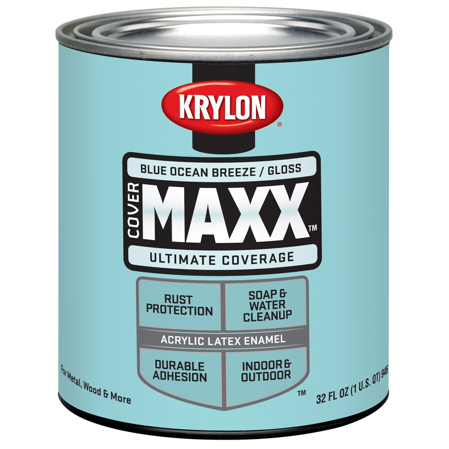 Krylon Covermaxx Blue Ocean Breeze Gloss Latex Enamel Interior/Exterior Paint (Actual Net Contents: 8-fl oz)