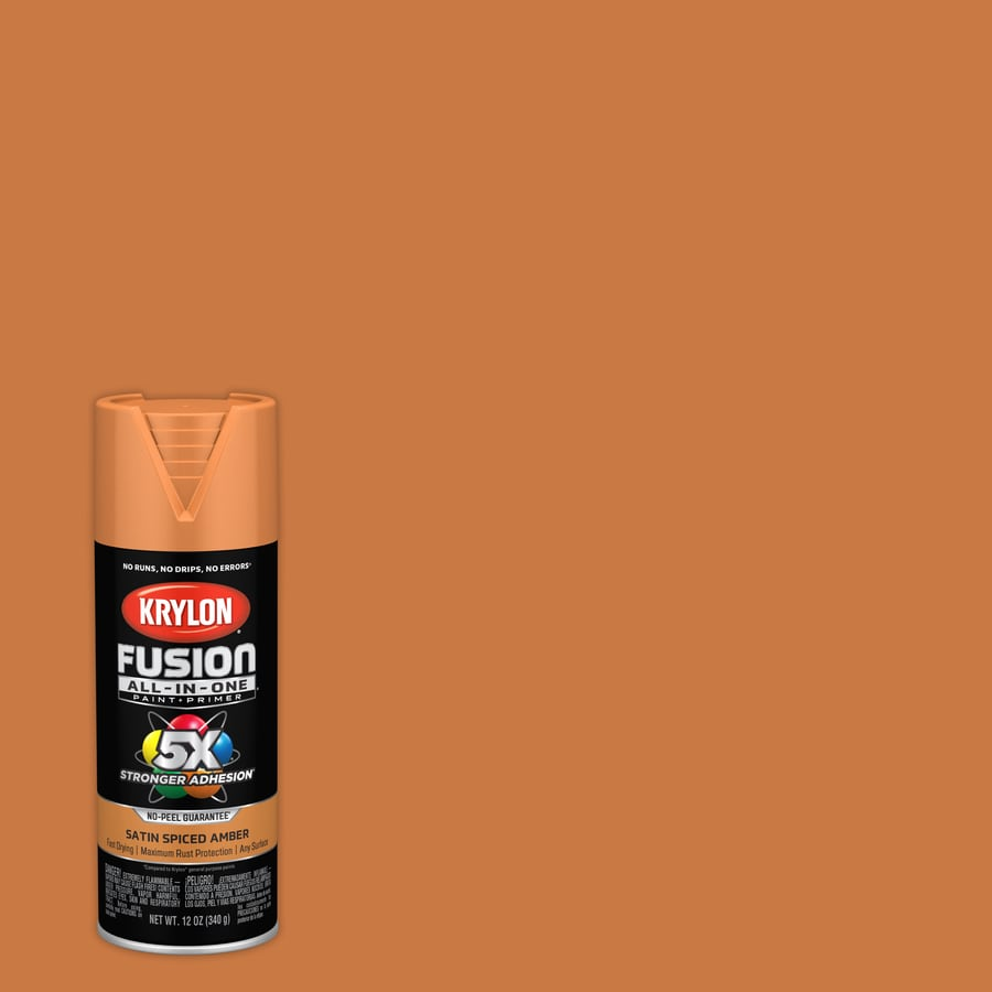 Krylon Fusion All In One General Purpose Satin Ed Amber Spray Paint Actual Net Contents 12 Oz