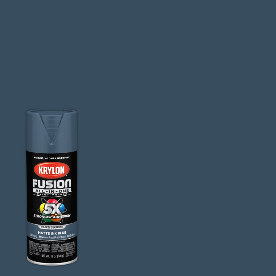 Krylon Fusion All In One General Purpose Matte Ink Blue Spray Paint Actual