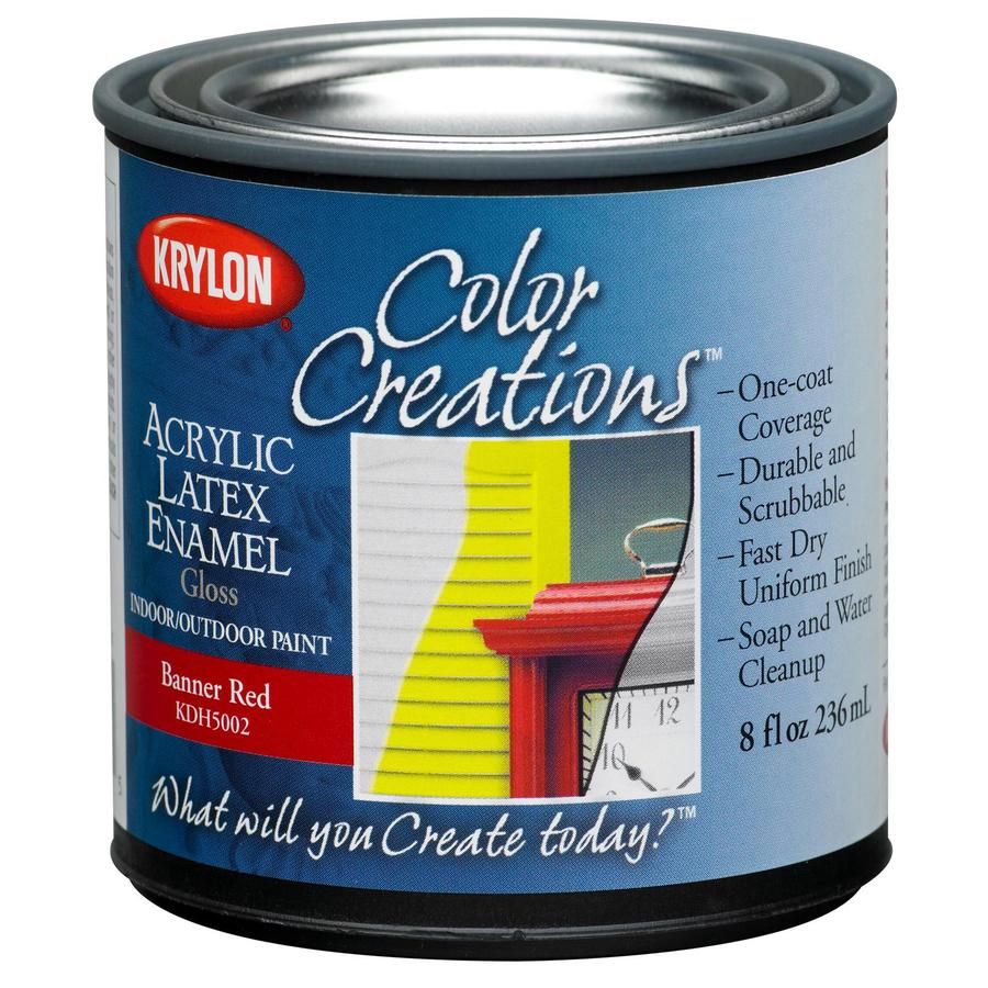Krylon CoverMaxx Banner Red Gloss Latex Enamel Interior/Exterior Paint and Primer in One (Actual Net Contents: 8-fl oz)