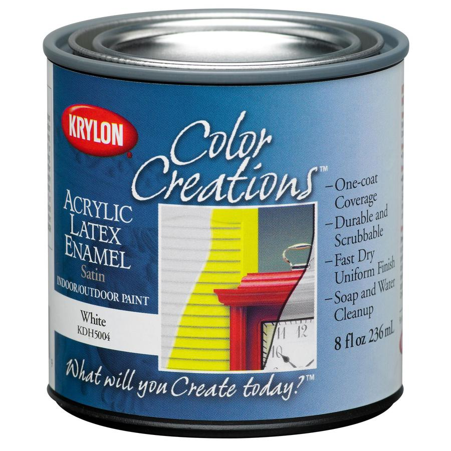 Krylon CoverMaxx White Satin Latex Enamel Interior/Exterior Paint and Primer in One (Actual Net Contents: 8-fl oz)
