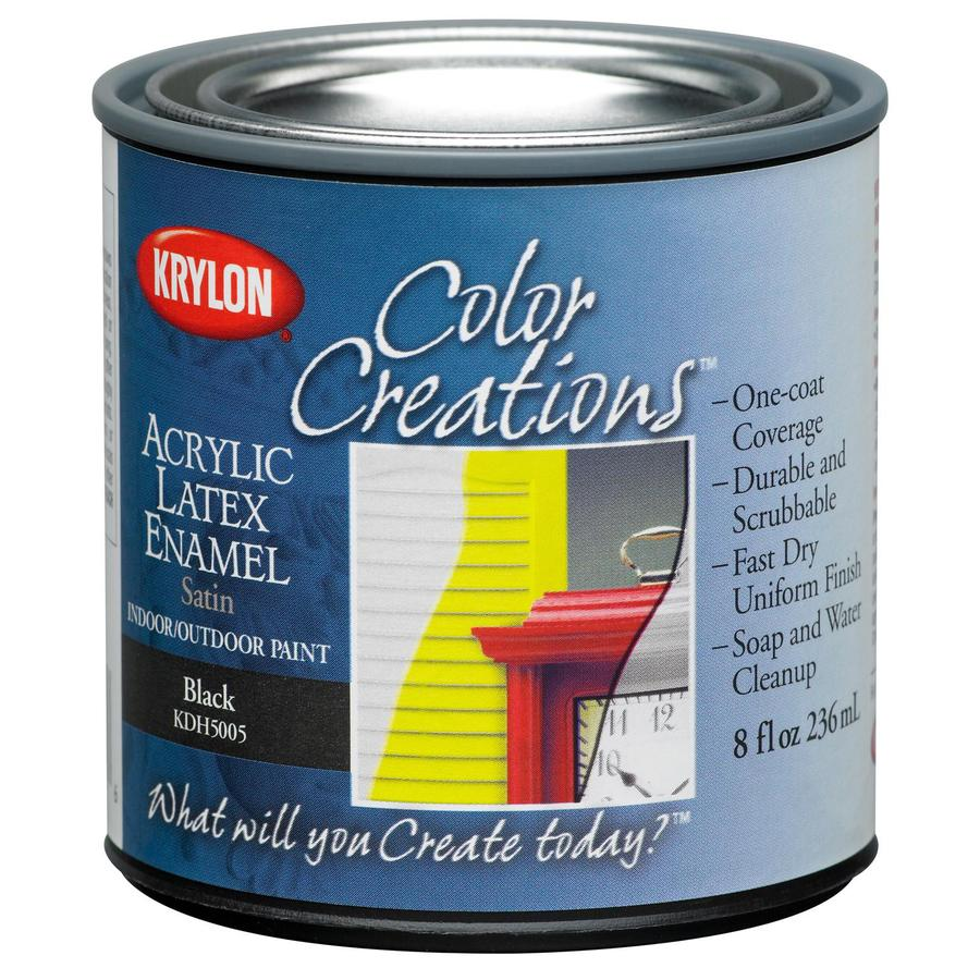 Krylon Covermaxx Black Satin Latex Enamel Interior/Exterior Paint (Actual Net Contents: 8-fl oz)
