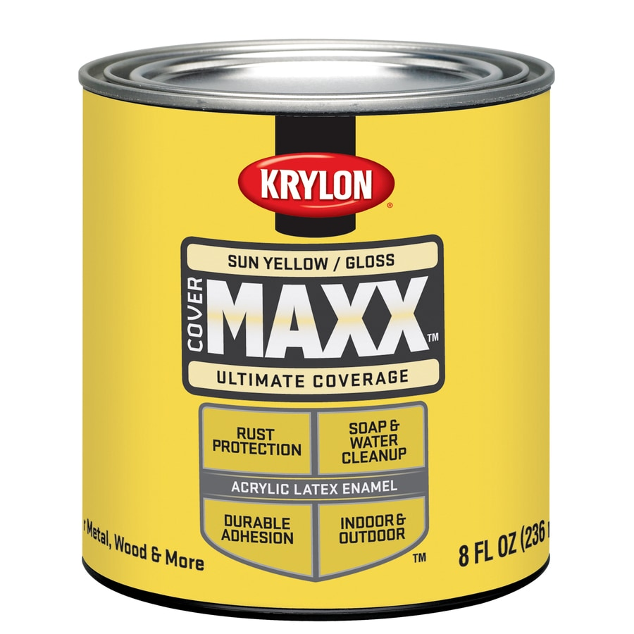 Krylon Covermaxx Sun Yellow Gloss Latex Enamel Interior/Exterior Paint (Actual Net Contents: 8-fl oz)