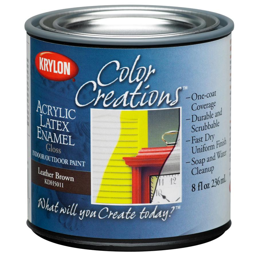 Krylon CoverMaxx Leather Brown Gloss Latex Enamel Interior/Exterior Paint and Primer in One (Actual Net Contents: 8-fl oz)