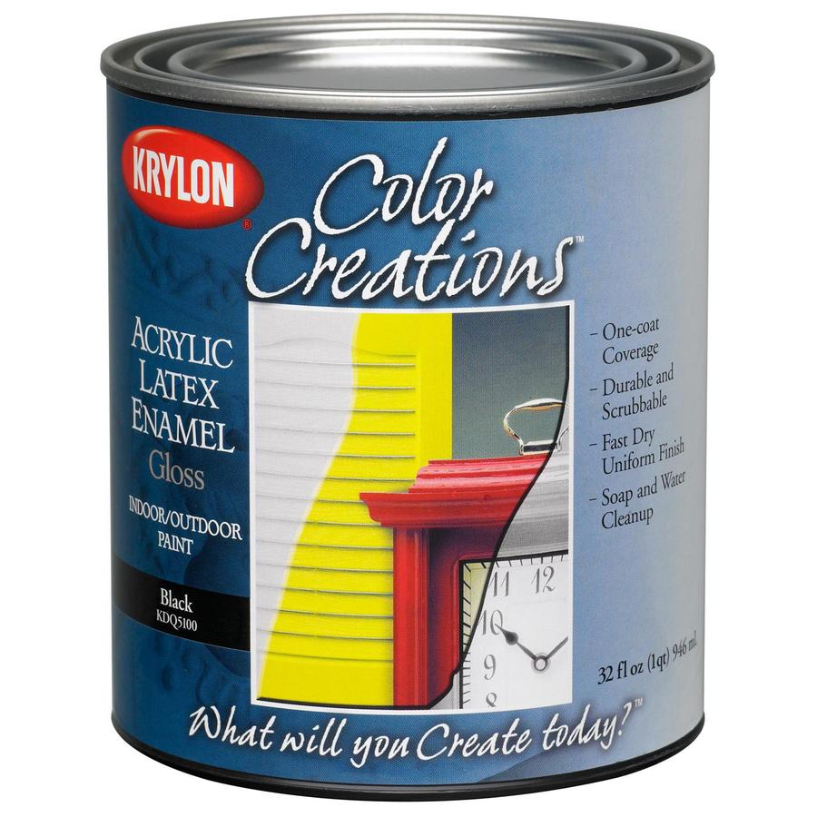 Krylon CoverMaxx Black Gloss Latex Enamel Interior/Exterior Paint (Actual Net Contents: 32-fl oz)