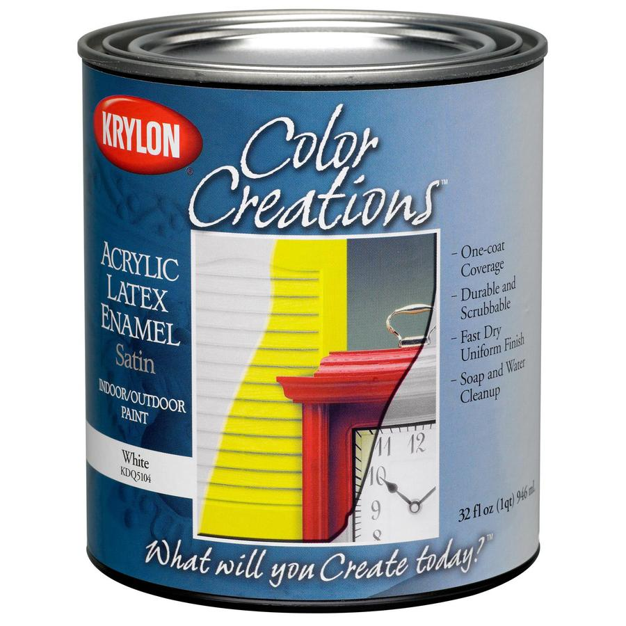 Krylon CoverMaxx White Satin Latex Enamel Interior/Exterior Paint and Primer in One (Actual Net Contents: 32-fl oz)