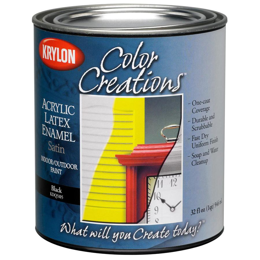 Krylon CoverMaxx Black Satin Latex Enamel Interior/Exterior Paint and Primer in One (Actual Net Contents: 32-fl oz)