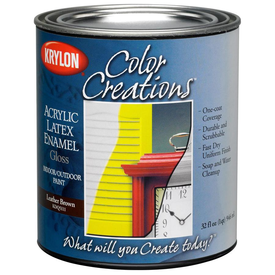Krylon CoverMaxx Leather Brown Gloss Latex Enamel Interior/Exterior Paint and Primer in One (Actual Net Contents: 32-fl oz)