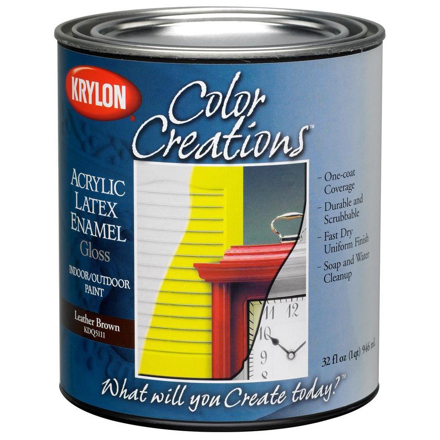 Krylon Covermaxx Leather Brown Gloss Latex Enamel Interior/Exterior 32-fl oz