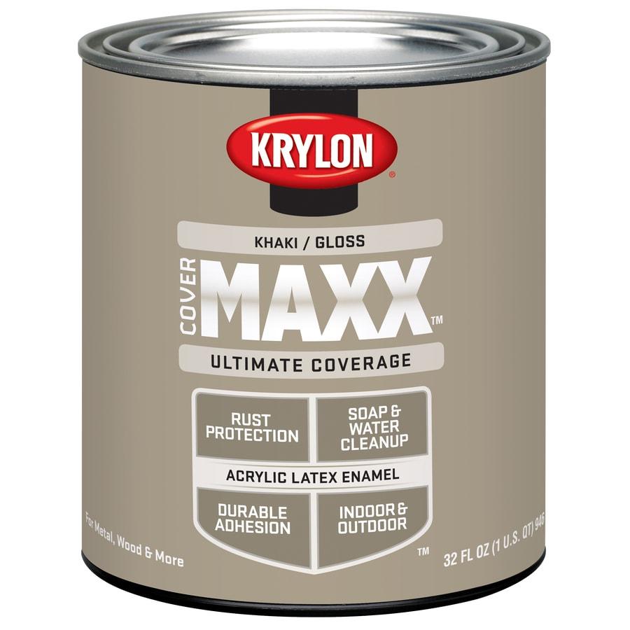 Krylon Covermaxx Khaki Gloss Latex Enamel Interior/Exterior Paint (Actual Net Contents: 8-fl oz)