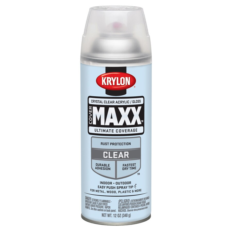 Krylon CoverMaxx Crystal Clear Enamel Spray Paint (Actual Net Contents: 12-oz)