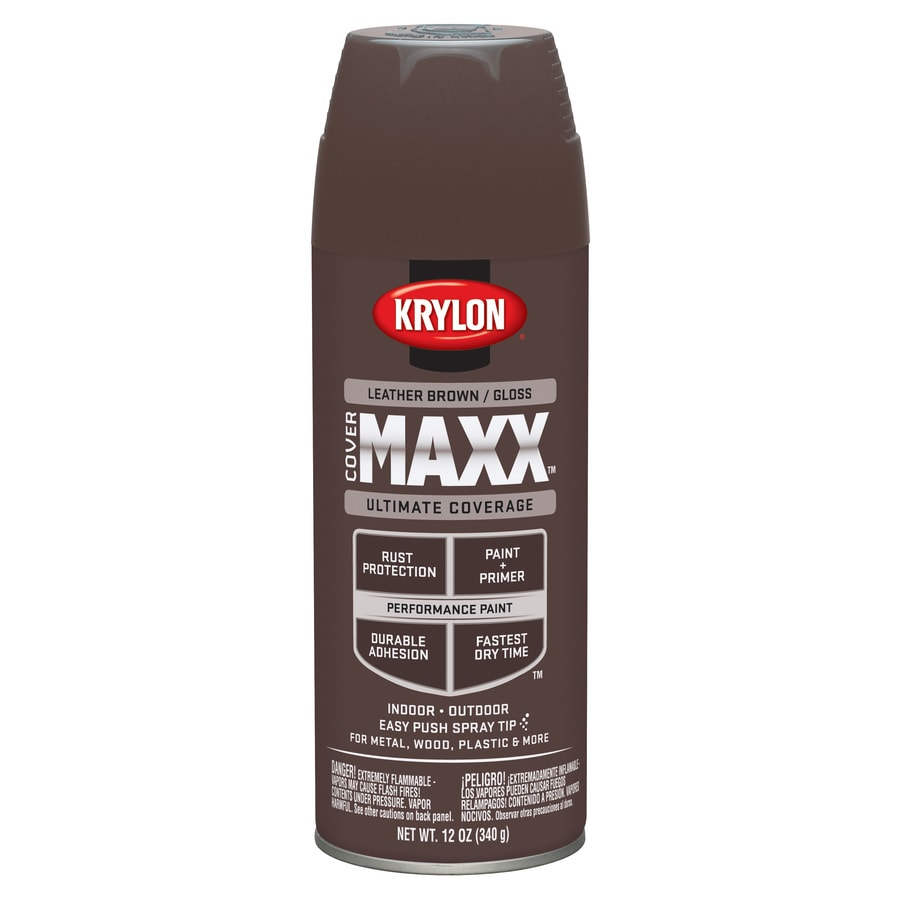 Krylon CoverMaxx Leather Brown Enamel Spray Paint (Actual Net Contents: 12-oz)