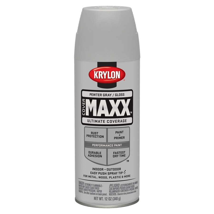 Krylon CoverMaxx Pewter Gray Enamel Spray Paint (Actual Net Contents: 12-oz)