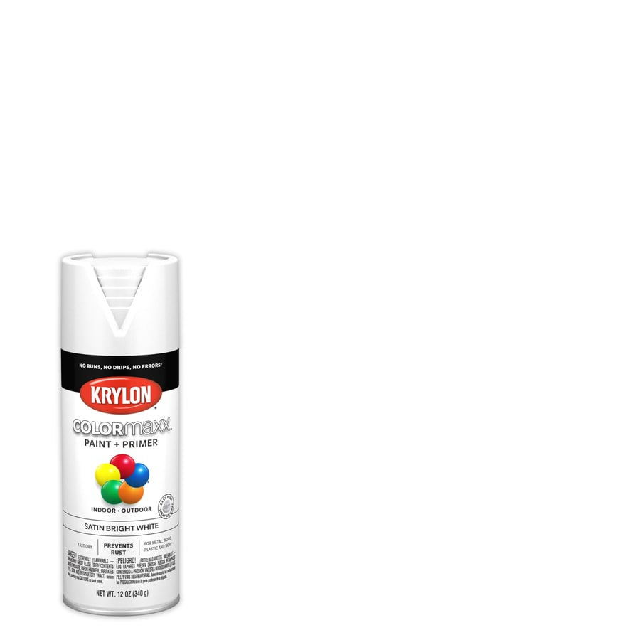 Krylon Colorma General Purpose Satin Bright White Spray Paint Actual Net Contents 12 Oz
