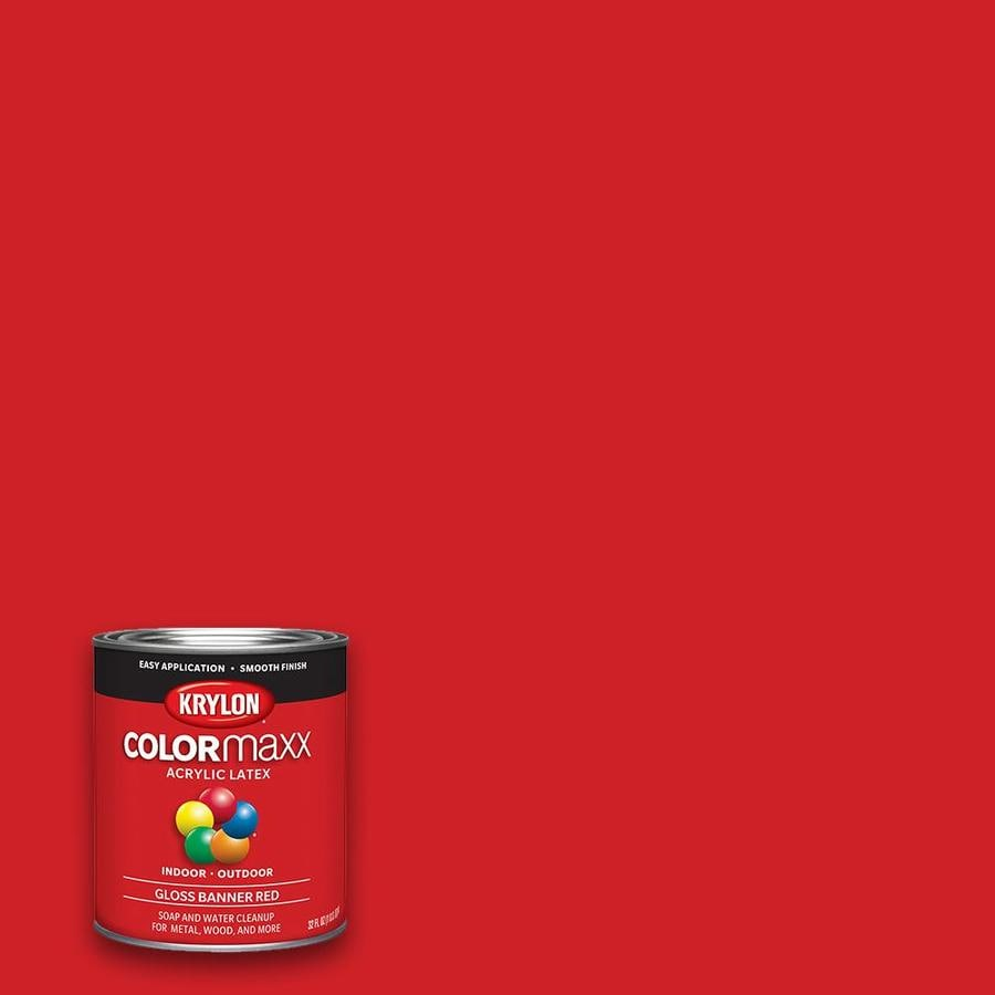 Krylon Gloss Colorma Banner Red Latex Enamel Interior Exterior Paint Actual Net Contents 32 Fl Oz