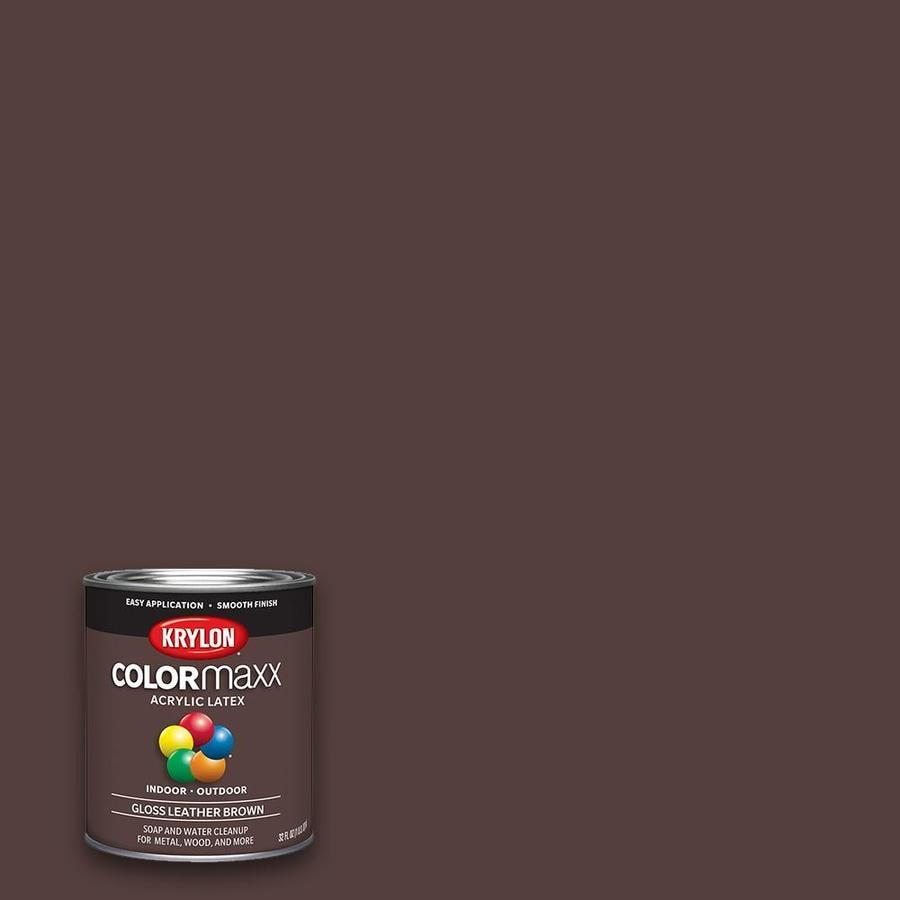 Krylon Gloss Colorma Leather Brown Latex Enamel Interior Exterior Paint Actual Net Contents 32 Fl Oz