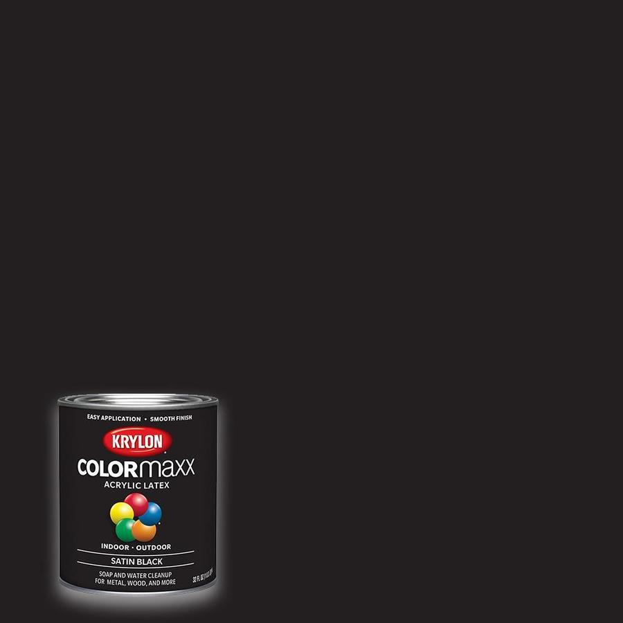 Krylon Satin Colorma Black Latex Enamel Interior Exterior Paint Actual Net Contents 32 Fl Oz