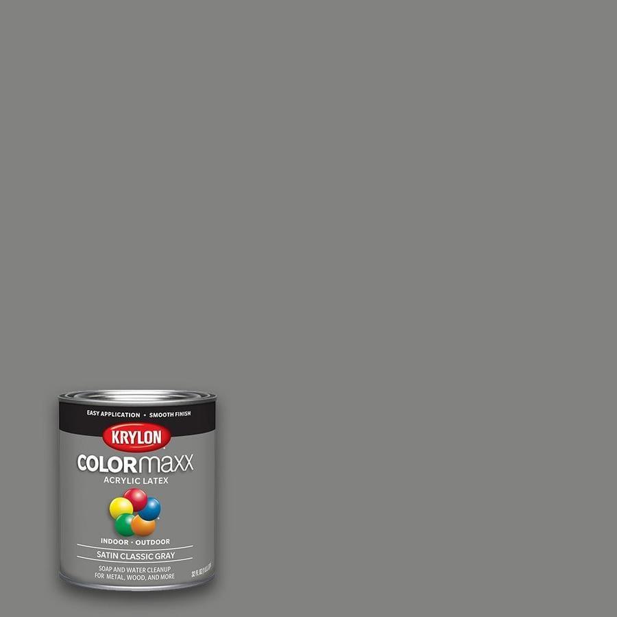 Krylon Satin Colorma Clic Gray Latex Enamel Interior Exterior Paint Actual Net Contents 32 Fl Oz