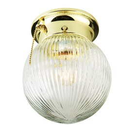 Project Source 5.75-in Polished Brass Transitional Flush Mount Light