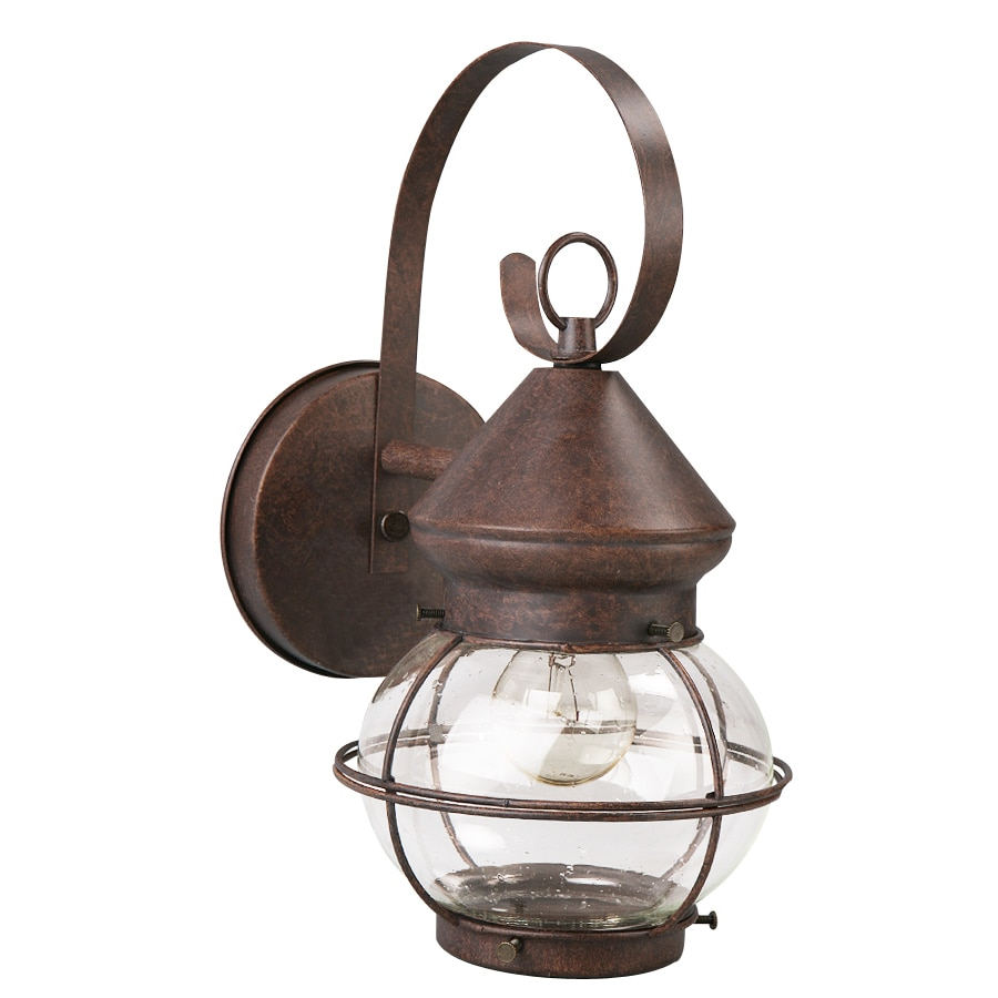 Shop portfolio 12 4 in h rustic brown outdoor wall light for Outside lawn lights