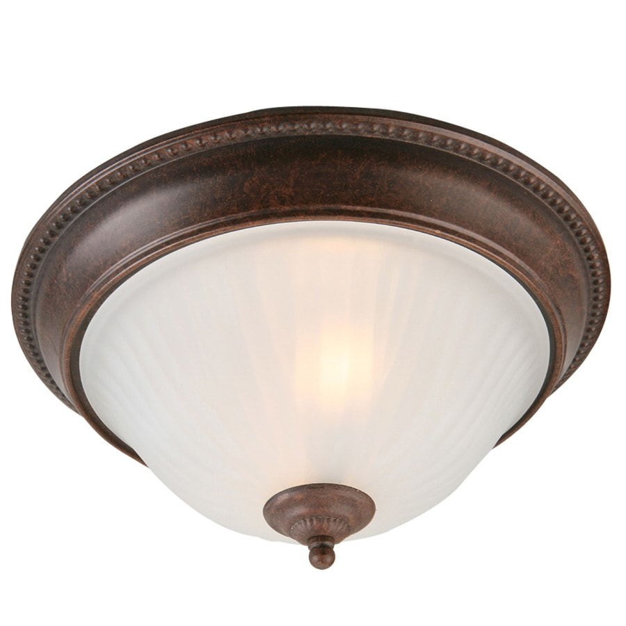 Shop Portfolio 13-in W Rustic Brown Flush Mount Light at Lowes.com:Portfolio 13-in W Rustic Brown Flush Mount Light,Lighting
