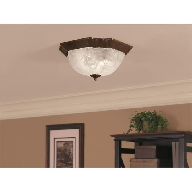 Portfolio 13 In Rustic Brown Traditional Incandescent Flush Mount Light In The Flush Mount Lighting Department At Lowes Com
