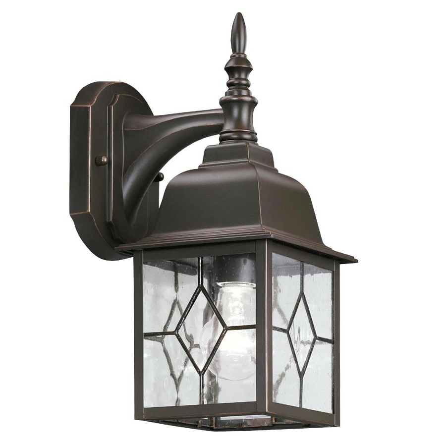 Shop portfolio litshire 13 5 in h oil rubbed bronze for Outdoor home lighting fixtures